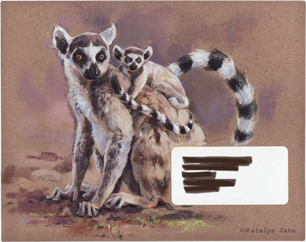 Ring-tailed lemurs, mail art