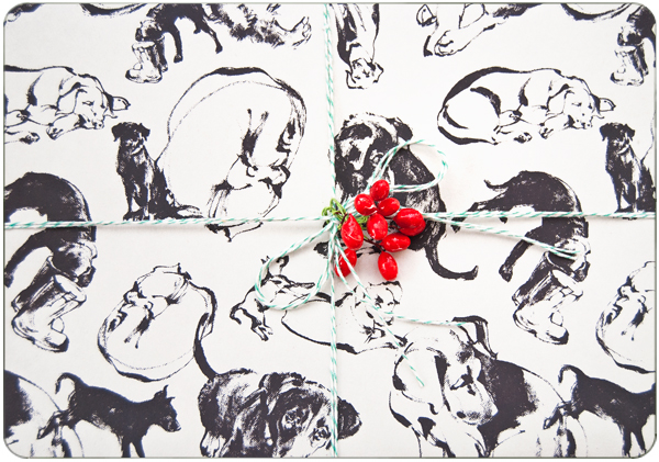 Custom dog pattern wrapping paper by Natalya Zahn