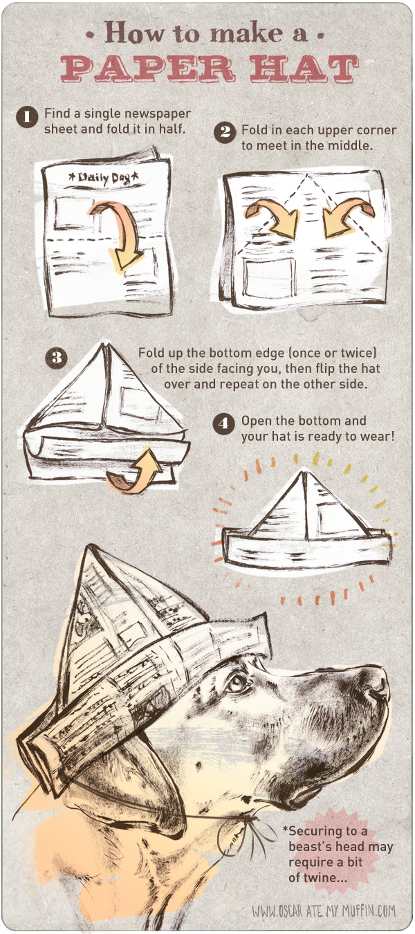 Oscar dog's DIY paper party hat instructions