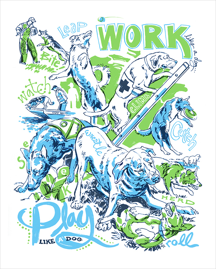 Work Like a Dog limited edition art print by illustrator Natalya Zahn